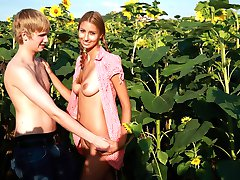 Behind the tall sunflower plants, these teens are able to hide their naughty acts. They can`t wait to have sex, but just hope that no one spots them while they`re satisfying their sexual needs.