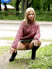 Teenage roadside whore in a hot public nudity set