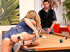 Beautiful red head nicole ray gets fingered and nailed hard on the pool table in these hot big...