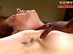 Hairy mom gets her asshole ripped with a stiff ebony dick then takes facial cumshot