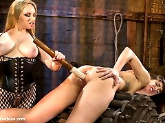 Welcome local model and masochist Bianca Stone to Whipped Ass. Bianca likes to be challenged with lesbian BDSM and having rough lesbian sex. She loves being restrained and giving up all control to a sexy dominatrix! Bianca loves the feeling of being in bondage and having her pussy fisted and asshole fucked. Watch as Aiden Starr pushes Bianca\'s limits with heavy spanking, nipple and pussy torture and being made to lick asshole while tied on a harsh back breaker!