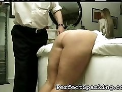 The nurse motions to leave, but she is going to be punished as well for showing up. He wants to get her ass as red as his step daughters.