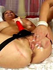 Nasty lesbian matures fuck each other with a strapon dildo and lick pussies