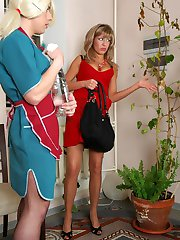 Sizzling hot sissy maid doing his best mounting a babes king-size strap-on