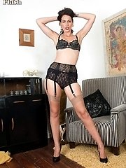 Leggy, pencil skirted Tammy in vintage undies and ff stockings!