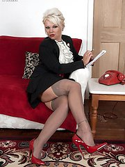 Dirty old stocking tease Candy measures up for a shagging!