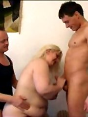 Two well-hung stud drilling the chubby blonde ho