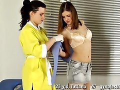 Breast measuring and gyno exam by a lesbian doctor