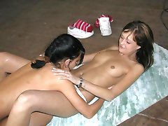 Horny lesbians playing with each other