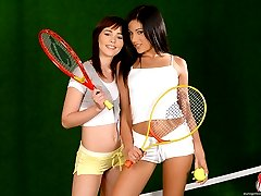 Sapphic sex on a tennis court