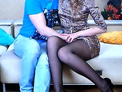 Wanton beauty lures her studly lover into a fuck riding him in her tights