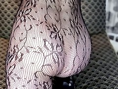 Leggy sums up Katie, and here she is with them sheathed in a great pair of lace pantyhose.