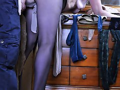 Caught worshipping hose a guy readily drills mature pussy thru black tights