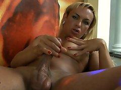 Adorable TS blonde masturbating