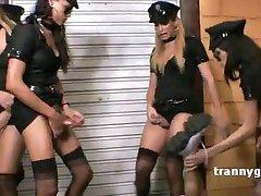 Six tranny cops gang banging one guy