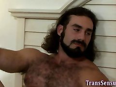 Trans babe rides dick