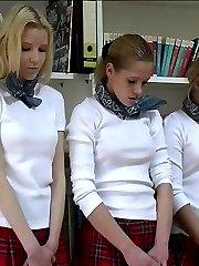 Three virgin cuties get their asses bruised