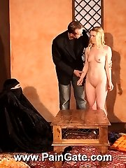 Harsh pussy and tit whipping