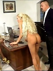 Black office girl under the cane