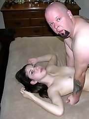 Barely Legal Teenager Getting Banged By A Fat And Bald Dude