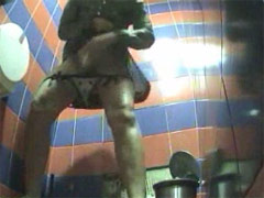 Pissing hotties squatted right behind voyeur camera