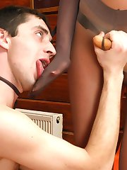 Humble guy licking babes nylon feet before outrageous strap-on invasion