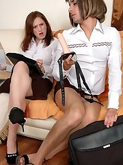 Sissy co-worker finds wild pleasure in riding on a gals king-size strap-on