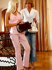 Lewd sissy lowers his denim aching to feel every thrust of a gal�s strap-on