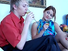 Bold gal treats her anal-loving boy to a strapon stuffing his mouth and ass