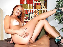 Beautiful perky titty red head gets her juicy bush pounded hard and cum faced after college in...