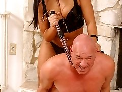 Sexy Asian dominatrix Christina Aguchi whipping her male submissive and facesits him