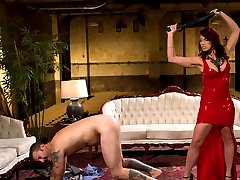 Mistress Nicki Hunter is back and sexier then ever in red hot wet latex! New slave, Micheal...