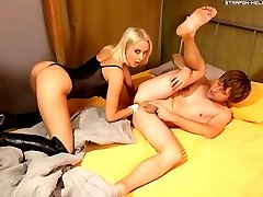 Mistress wakes her slave up by sticking a fist up his poor little asshole