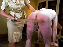 It's Johnny's last day of [REDACTED] and Head Mistress Penny Flame stops by the dorm to administer one final lesson.  Ass paddling, glory hole CBT, bondage, tit clamps and cum eating are all on the test.