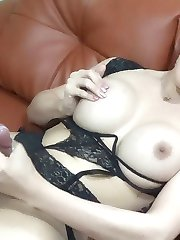 Big Tits Tranny from Philippines strokes that hard cock of hers
