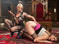 Submissive slut, Alex Chance, wanders into Goddess Lorelei Lees dungeon to get spanked, foot...