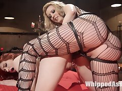 Cruel and sexy dominatrix Cherry Torn allows hot pain slut Violet Monroe to pick her implements...