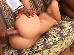 Two huge dicks fucking Asian slut
