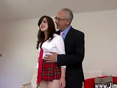 Old man fucks brunette schoolgirl