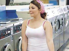 ExxxtraSmall - Petite Teen Fucked in Laundromat