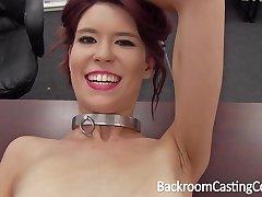 Slave Chokes Herself to Anal Orgasm