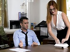 Luscious office girl banged her coworker in the office