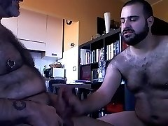 Bearded man sucking