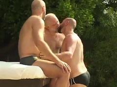 Mature men fucking outdoors.