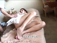 Brunette gets a Special Japanese Massage