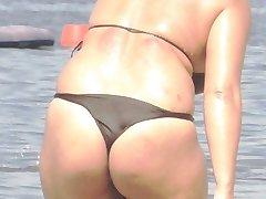 BBW Bikini - Candid ass - Beach Booty voyeur - Spying Butt