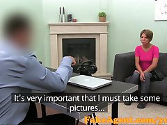 FakeAgent Creampie for shy amateur in casting