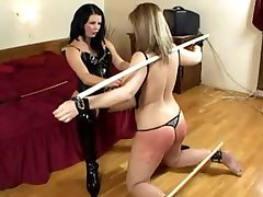 Lesbian slave spank