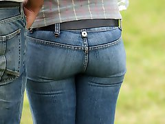 Delicious ass in tight spandex jeans