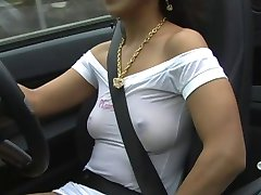 Girl In Sexy Sheer Dress Driving Car